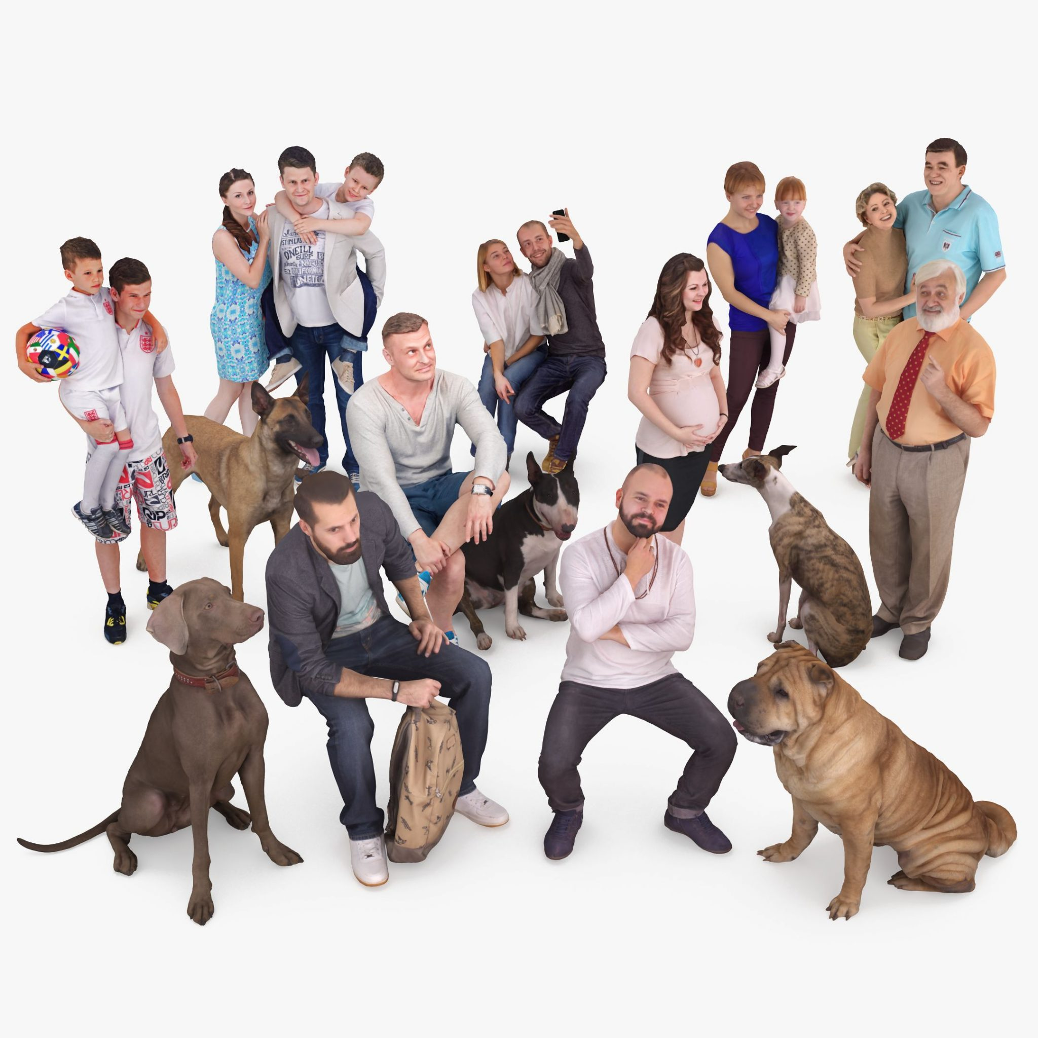 People and Pets Collection x15 3D Models | 3DTree Scanning Studio